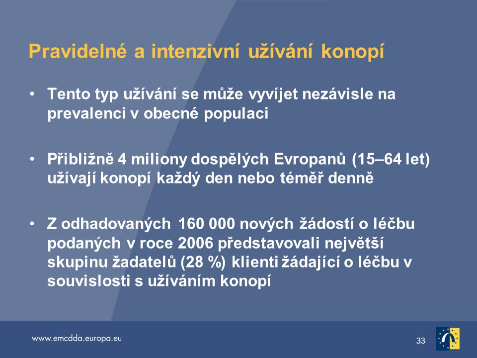 33 Pravidelné a intenzivní užívání konopí Tento typ užívání se může vyvíjet nezávisle na prevalenci v obecné populaci Přibližně 4 miliony dospělých Evropanů (15–64 let) užívají konopí každý den nebo téměř denně Z odhadovaných 160 000 nových žádostí o léčbu podaných v roce 2006 představovali největší skupinu žadatelů (28 %) klienti žádající o léčbu v souvislosti s užíváním konopí