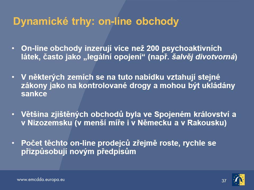 """37 Dynamické trhy: on-line obchody On-line obchody inzerují více než 200 psychoaktivních látek, často jako """"legální opojení (např."""
