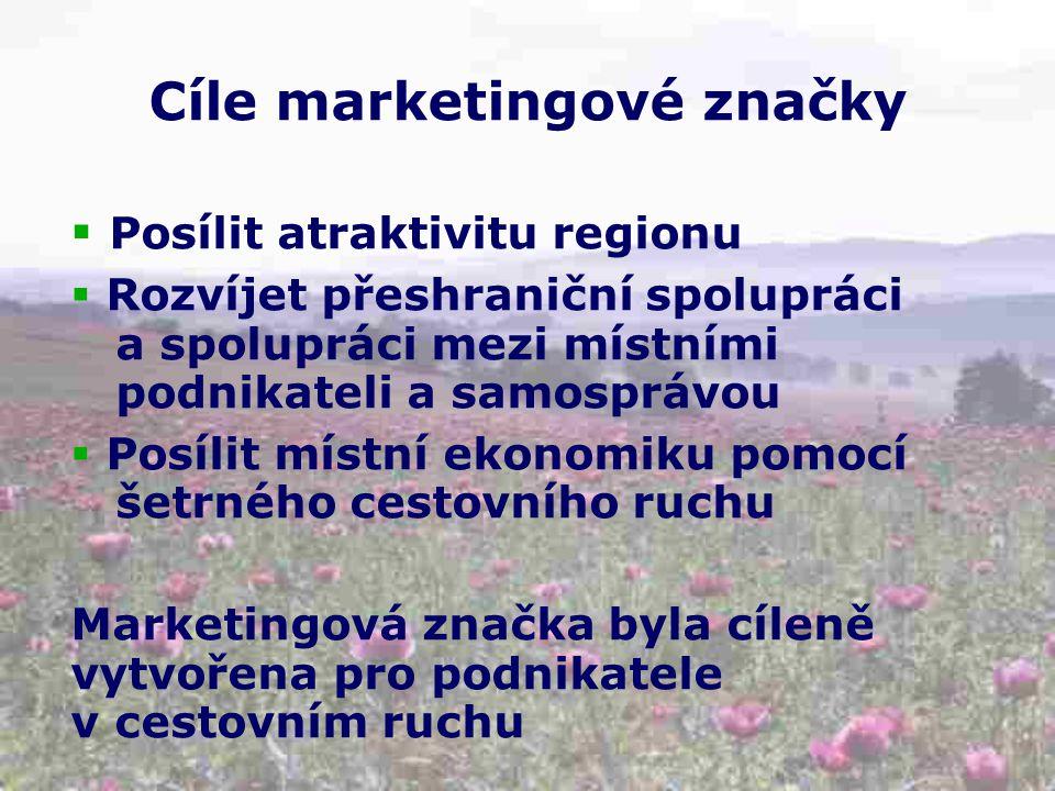 Cíle marketingové značky  Posílit atraktivitu regionu  Rozvíjet přeshraniční spolupráci a spolupráci mezi místními podnikateli a samosprávou  Posílit místní ekonomiku pomocí šetrného cestovního ruchu Marketingová značka byla cíleně vytvořena pro podnikatele v cestovním ruchu