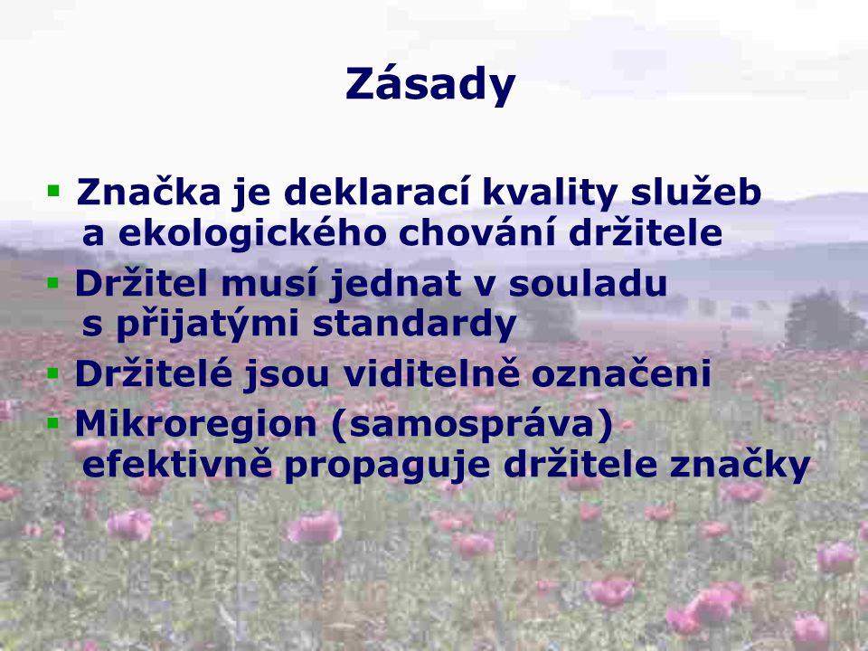 Zásady  Značka je deklarací kvality služeb a ekologického chování držitele  Držitel musí jednat v souladu s přijatými standardy  Držitelé jsou viditelně označeni  Mikroregion (samospráva) efektivně propaguje držitele značky