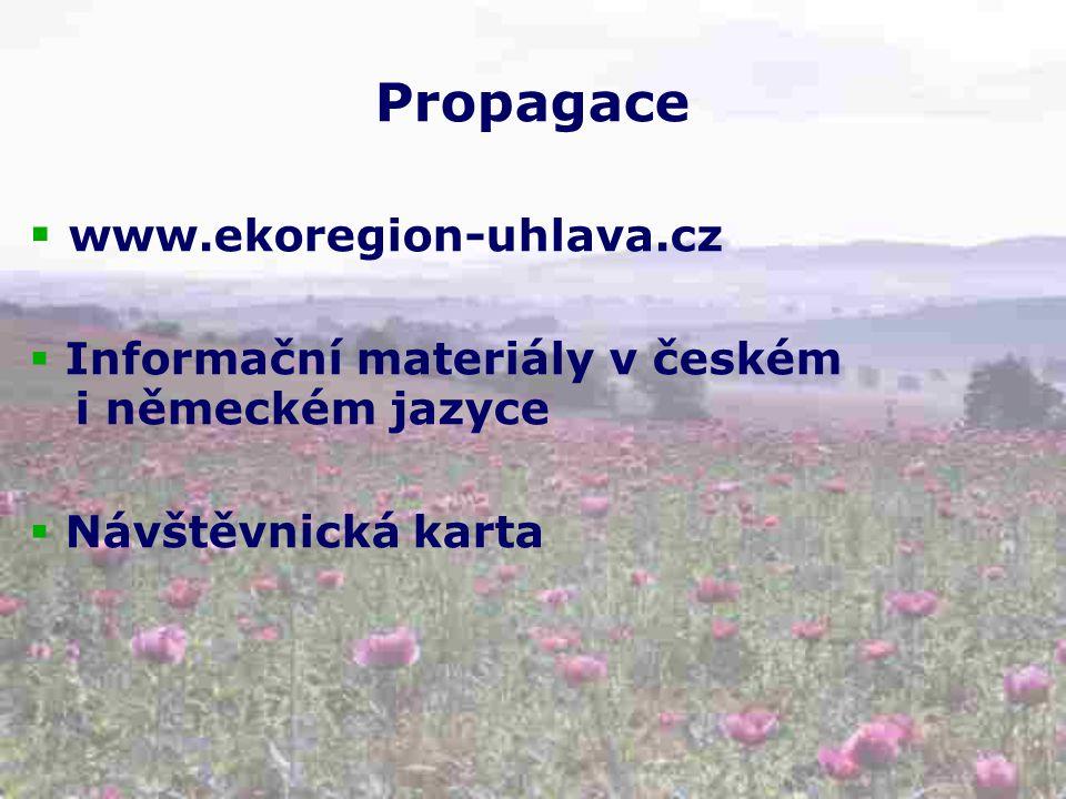 Propagace  www.ekoregion-uhlava.cz  Informační materiály v českém i německém jazyce  Návštěvnická karta