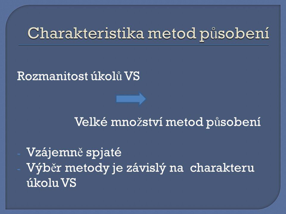 Rozmanitost úkol ů VS Velké mno ž ství metod p ů sobení - Vzájemn ě spjaté - Výb ě r metody je závislý na charakteru úkolu VS