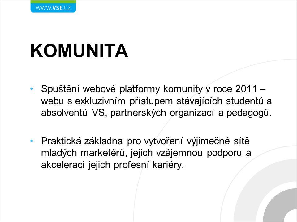 KOMUNITA Spuštění webové platformy komunity v roce 2011 – webu s exkluzivním přístupem stávajících studentů a absolventů VS, partnerských organizací a