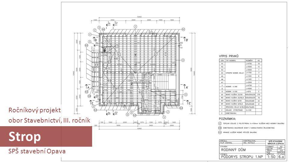 SPŠ stavební Opava obor Stavebnictví, III. ročník Strop Ročníkový projekt