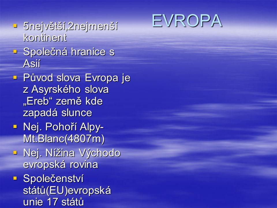 """EVROPA  5největší,2nejmenší kontinent  Společná hranice s Asií  Původ slova Evropa je z Asyrského slova """"Ereb"""" země kde zapadá slunce  Nej. Pohoří"""