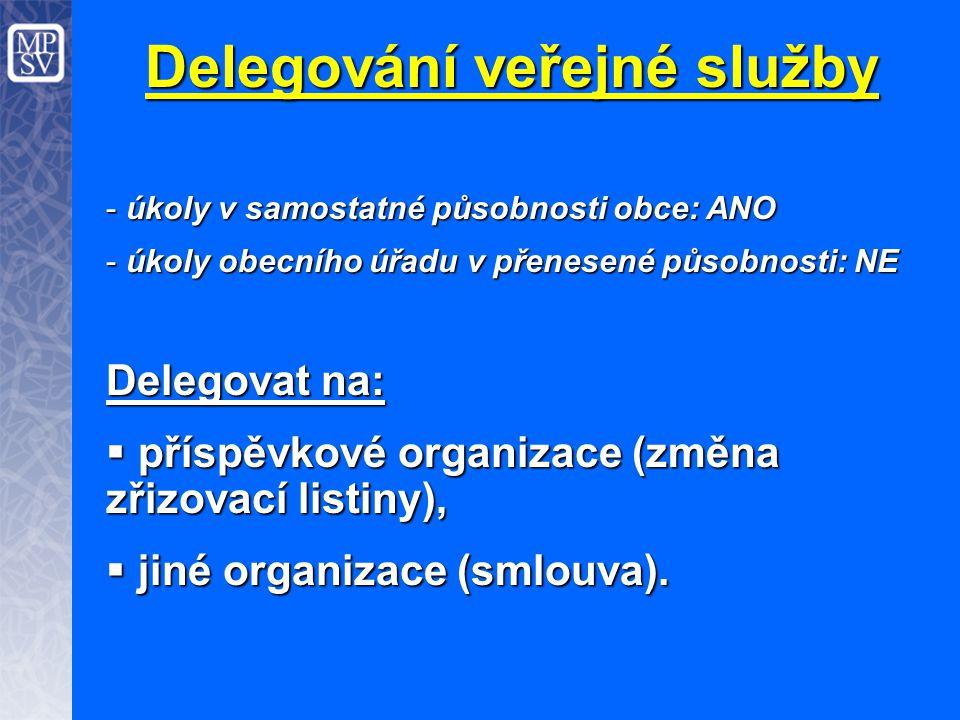Delegování veřejné služby - úkoly v samostatné působnosti obce: ANO - úkoly obecního úřadu v přenesené působnosti: NE Delegovat na:  příspěvkové orga