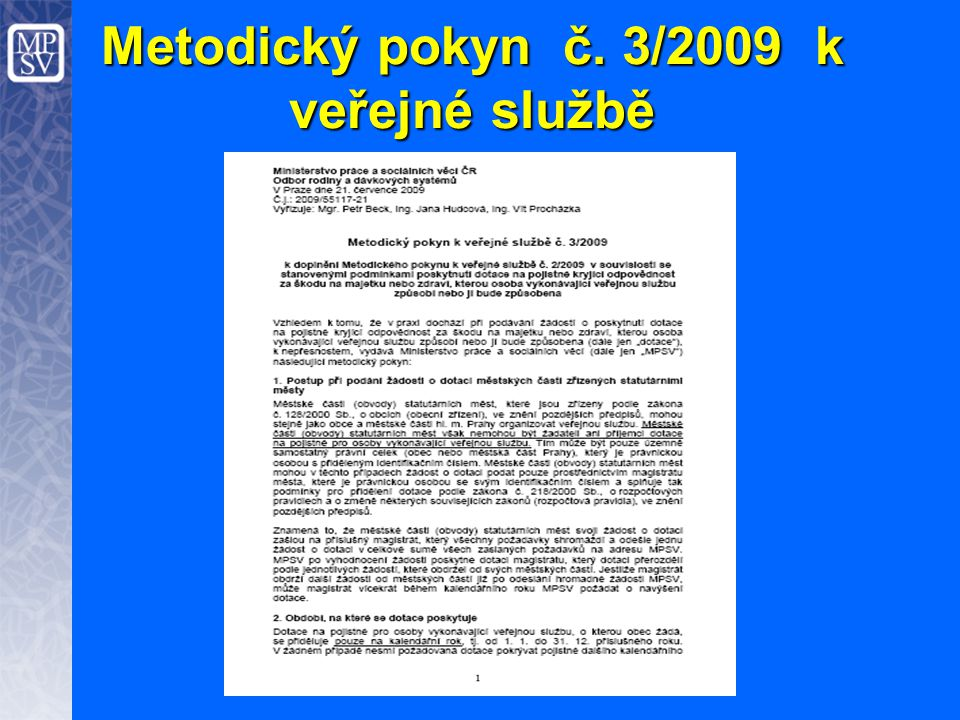 Metodický pokyn č. 3/2009 k veřejné službě