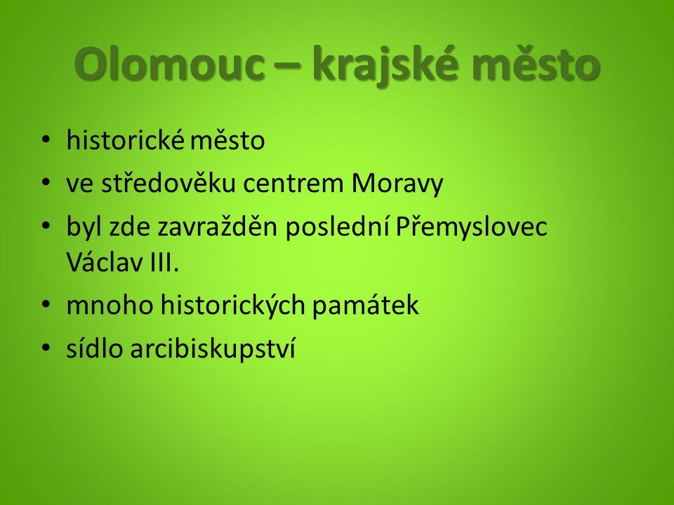Olomouc – krajské město historické město ve středověku centrem Moravy byl zde zavražděn poslední Přemyslovec Václav III. mnoho historických památek sí