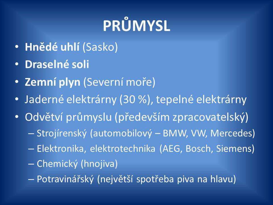 PRŮMYSL Hnědé uhlí (Sasko) Draselné soli Zemní plyn (Severní moře) Jaderné elektrárny (30 %), tepelné elektrárny Odvětví průmyslu (především zpracovat