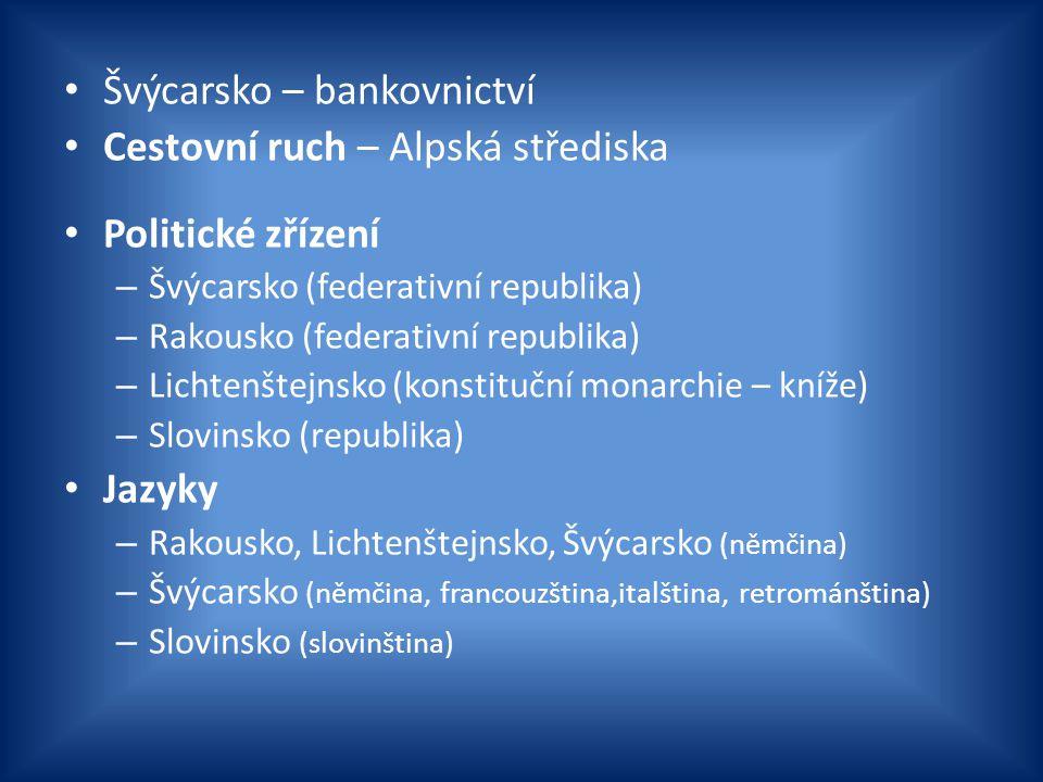 Švýcarsko – bankovnictví Cestovní ruch – Alpská střediska Politické zřízení – Švýcarsko (federativní republika) – Rakousko (federativní republika) – L