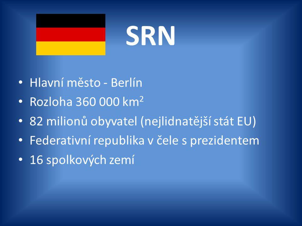 SRN Hlavní město - Berlín Rozloha 360 000 km 2 82 milionů obyvatel (nejlidnatější stát EU) Federativní republika v čele s prezidentem 16 spolkových ze