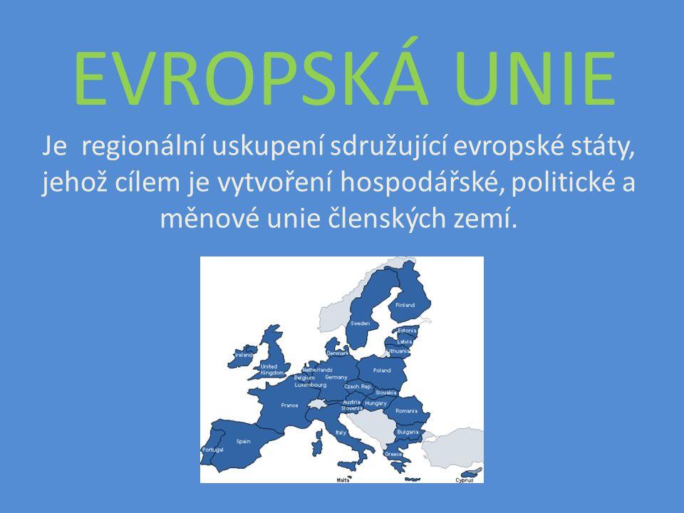 HISTORICKÝ VÝVOJ EU FRANCIE NĚMECKO BELGIE NIZOZEMÍ LUCEMBURSKO ITÁLIE VB IRSKO DÁNSKO ŘECKO ŠPANĚLSKO PORTUGALSKO 1952 - ESUO Evropské společenství uhlí a oceli 1957 - EUROATOM Evrop.