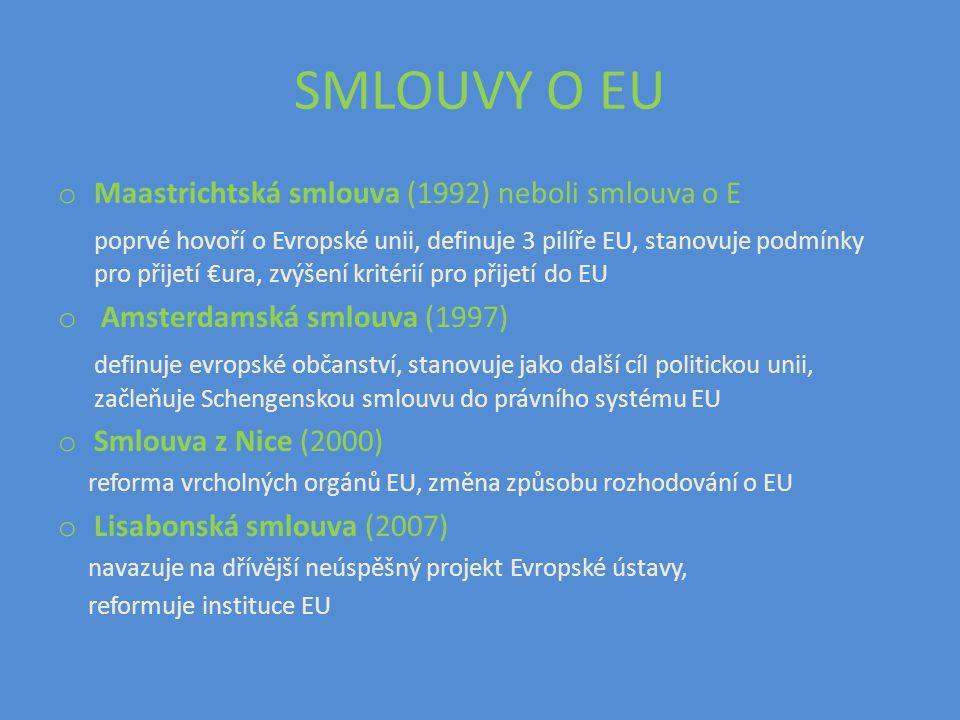 SMLOUVY O EU o Maastrichtská smlouva (1992) neboli smlouva o E poprvé hovoří o Evropské unii, definuje 3 pilíře EU, stanovuje podmínky pro přijetí €ur