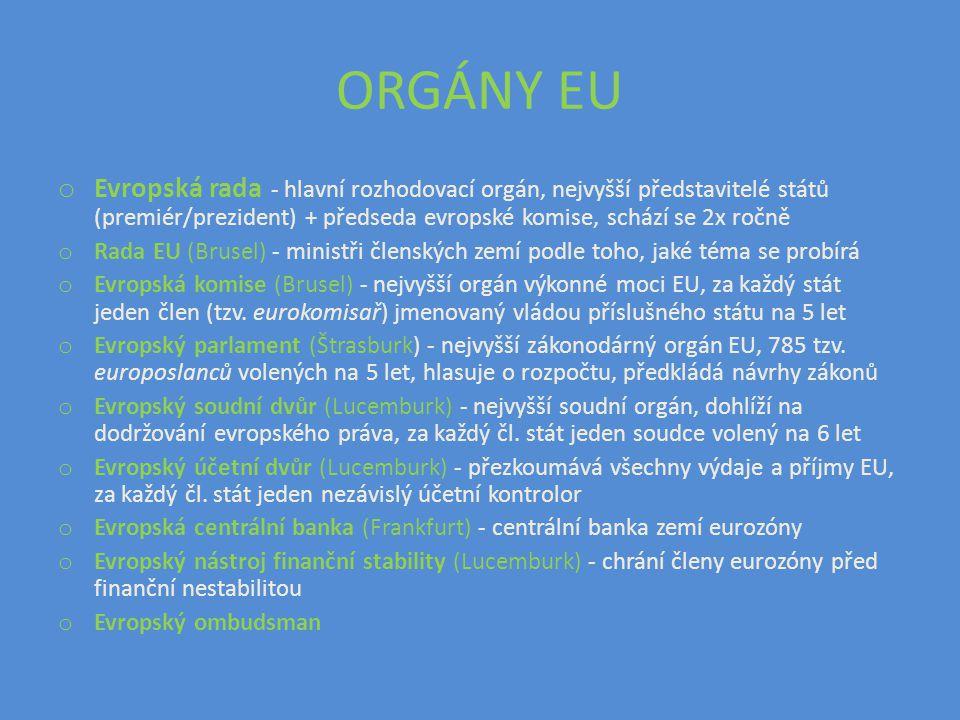 ORGÁNY EU o Evropská rada - hlavní rozhodovací orgán, nejvyšší představitelé států (premiér/prezident) + předseda evropské komise, schází se 2x ročně