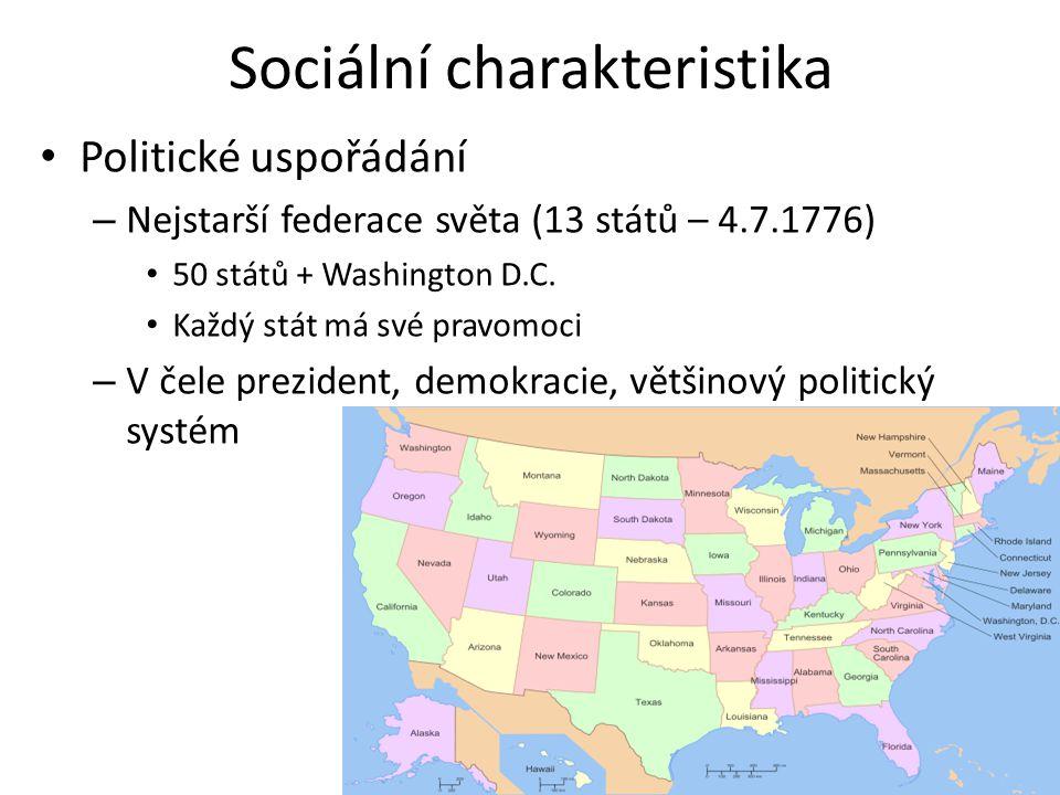 Sociální charakteristika Politické uspořádání – Nejstarší federace světa (13 států – 4.7.1776) 50 států + Washington D.C. Každý stát má své pravomoci
