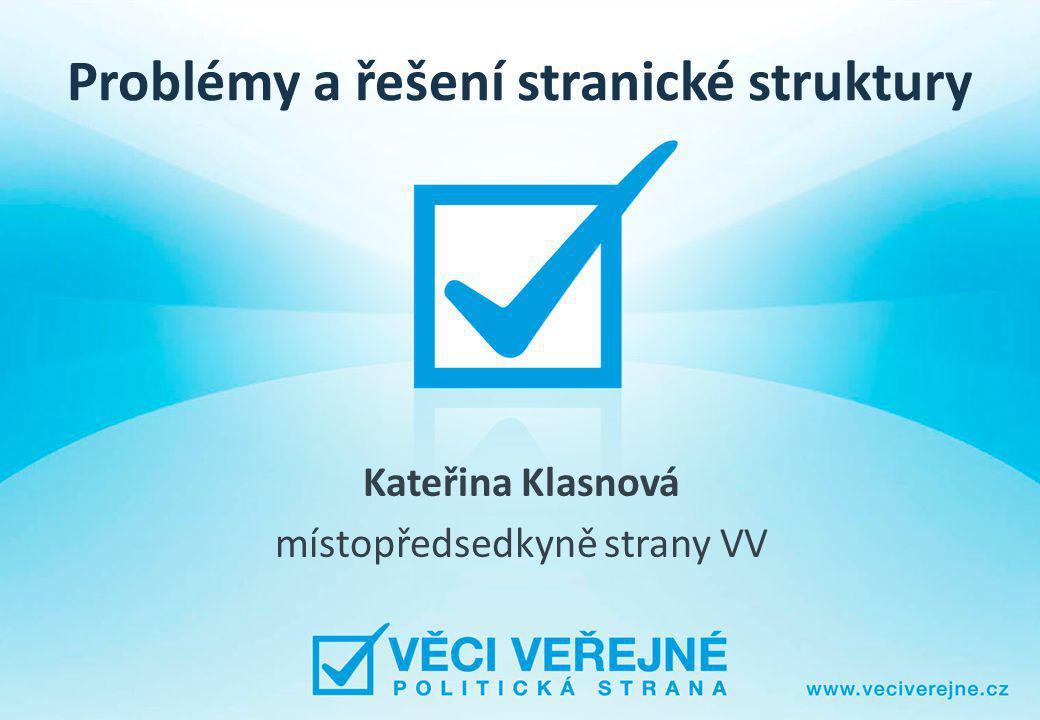 Problémy a řešení stranické struktury Kateřina Klasnová místopředsedkyně strany VV