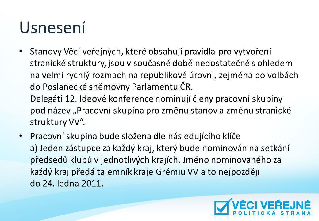Usnesení Stanovy Věcí veřejných, které obsahují pravidla pro vytvoření stranické struktury, jsou v současné době nedostatečné s ohledem na velmi rychlý rozmach na republikové úrovni, zejména po volbách do Poslanecké sněmovny Parlamentu ČR.