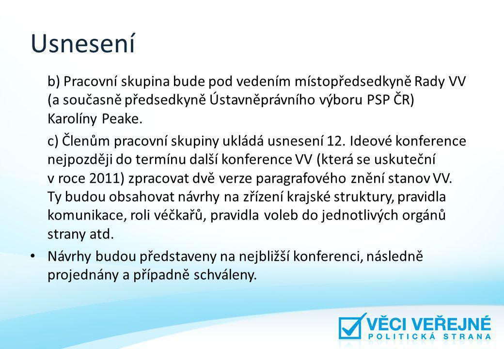 Usnesení b) Pracovní skupina bude pod vedením místopředsedkyně Rady VV (a současně předsedkyně Ústavněprávního výboru PSP ČR) Karolíny Peake.