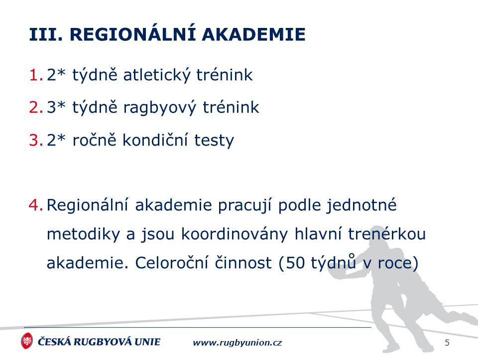 1.2* týdně atletický trénink 2.3* týdně ragbyový trénink 3.2* ročně kondiční testy 4.Regionální akademie pracují podle jednotné metodiky a jsou koordi