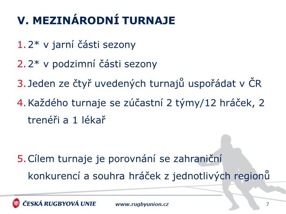 1.2* v jarní části sezony 2.2* v podzimní části sezony 3.Jeden ze čtyř uvedených turnajů uspořádat v ČR 4.Každého turnaje se zúčastní 2 týmy/12 hráček