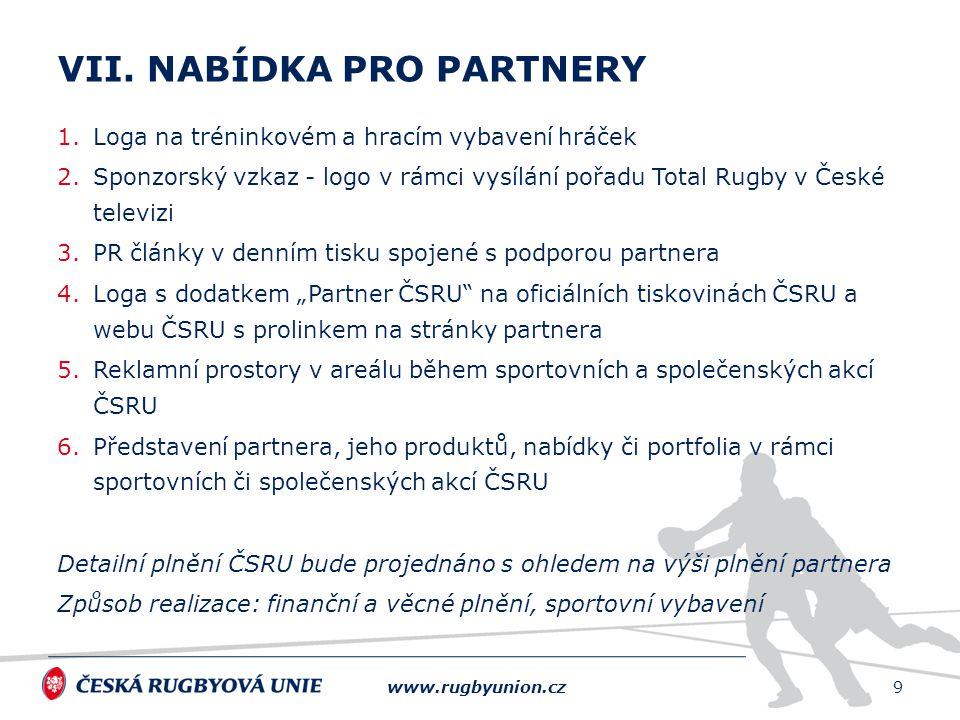 1.Loga na tréninkovém a hracím vybavení hráček 2.Sponzorský vzkaz - logo v rámci vysílání pořadu Total Rugby v České televizi 3.PR články v denním tis