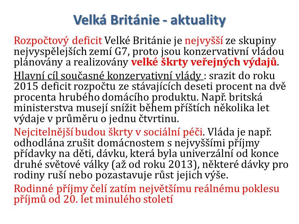Velká Británie - aktuality Rozpočtový deficit Velké Británie je nejvyšší ze skupiny nejvyspělejších zemí G7, proto jsou konzervativní vládou plánovány