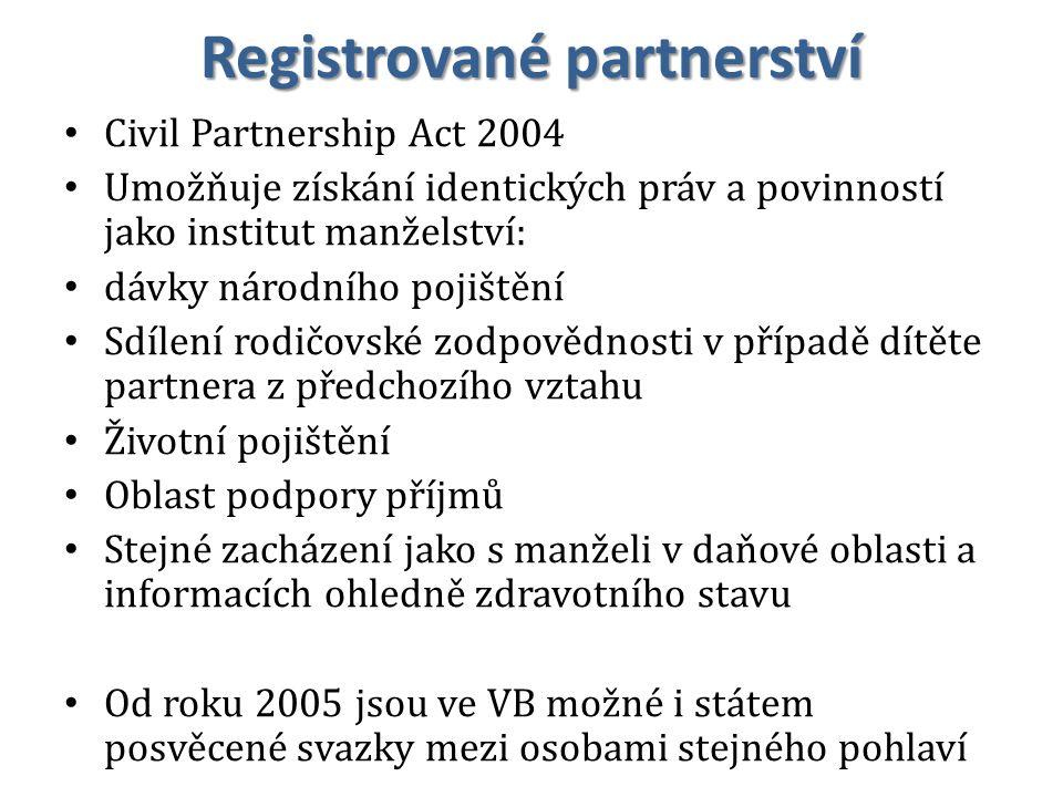 Registrované partnerství Civil Partnership Act 2004 Umožňuje získání identických práv a povinností jako institut manželství: dávky národního pojištění Sdílení rodičovské zodpovědnosti v případě dítěte partnera z předchozího vztahu Životní pojištění Oblast podpory příjmů Stejné zacházení jako s manželi v daňové oblasti a informacích ohledně zdravotního stavu Od roku 2005 jsou ve VB možné i státem posvěcené svazky mezi osobami stejného pohlaví