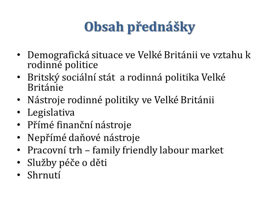 Obsah přednášky Demografická situace ve Velké Británii ve vztahu k rodinné politice Britský sociální stát a rodinná politika Velké Británie Nástroje r
