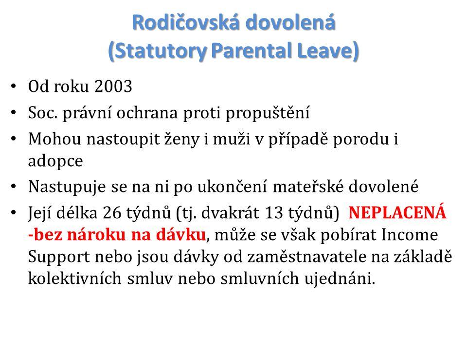 Rodičovská dovolená (Statutory Parental Leave) Od roku 2003 Soc. právní ochrana proti propuštění Mohou nastoupit ženy i muži v případě porodu i adopce