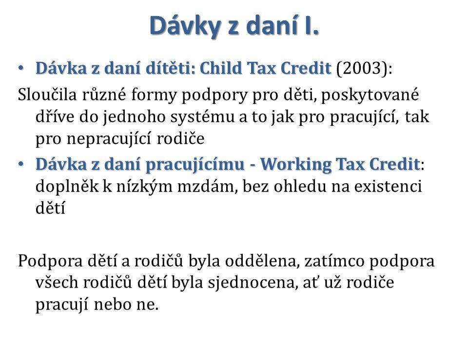 Dávky z daní I. Dávka z daní dítěti: Child Tax Credit Dávka z daní dítěti: Child Tax Credit (2003): Sloučila různé formy podpory pro děti, poskytované