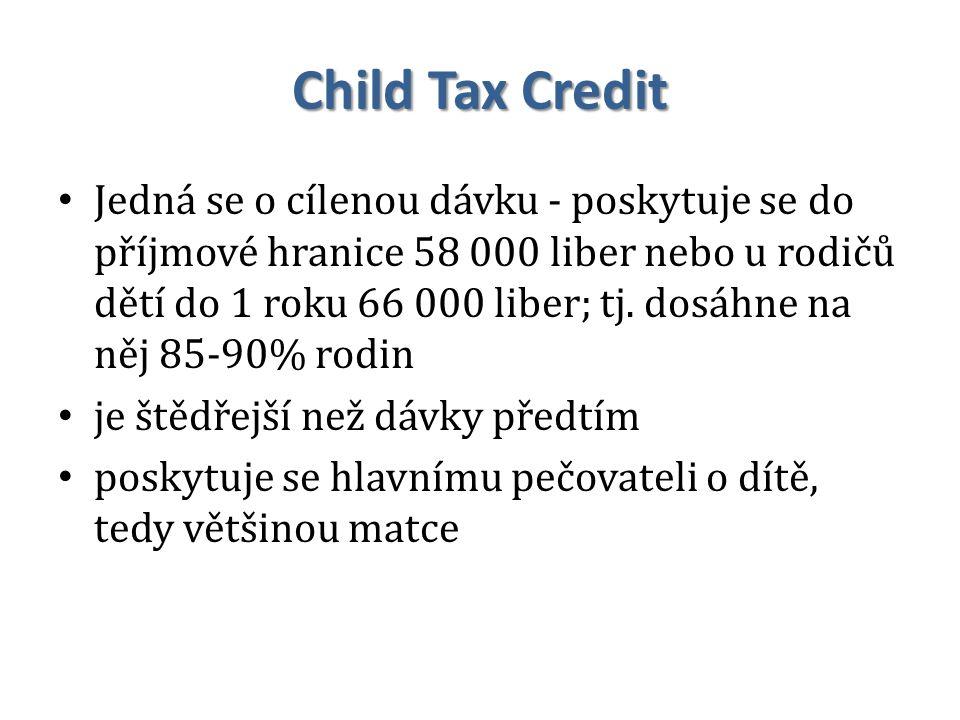 Child Tax Credit Jedná se o cílenou dávku - poskytuje se do příjmové hranice 58 000 liber nebo u rodičů dětí do 1 roku 66 000 liber; tj. dosáhne na ně