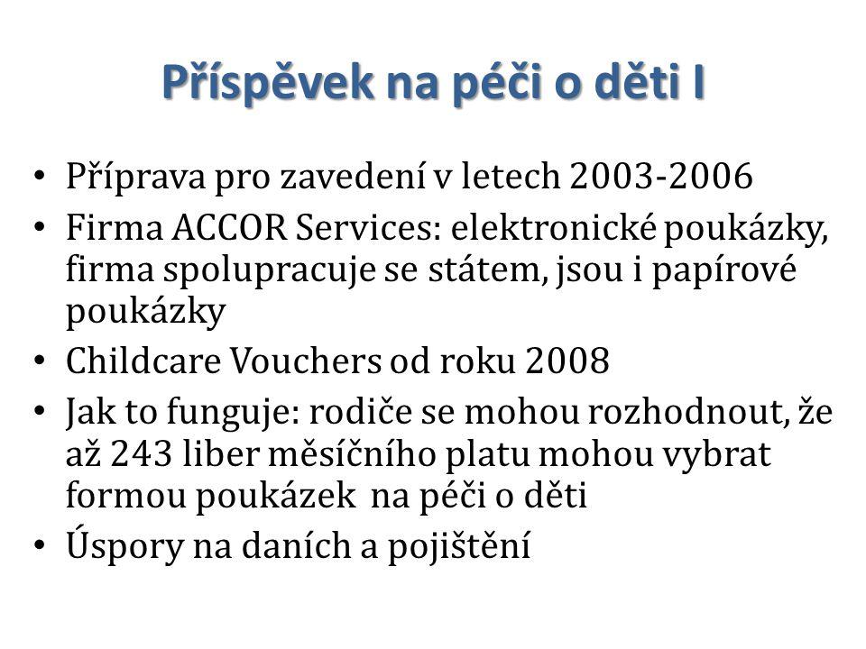 Příspěvek na péči o děti I Příprava pro zavedení v letech 2003-2006 Firma ACCOR Services: elektronické poukázky, firma spolupracuje se státem, jsou i