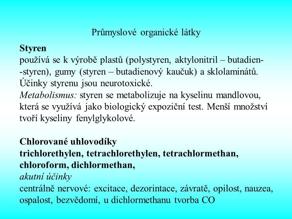 Průmyslové organické látky Styren používá se k výrobě plastů (polystyren, aktylonitril – butadien- -styren), gumy (styren – butadienový kaučuk) a sklolaminátů.