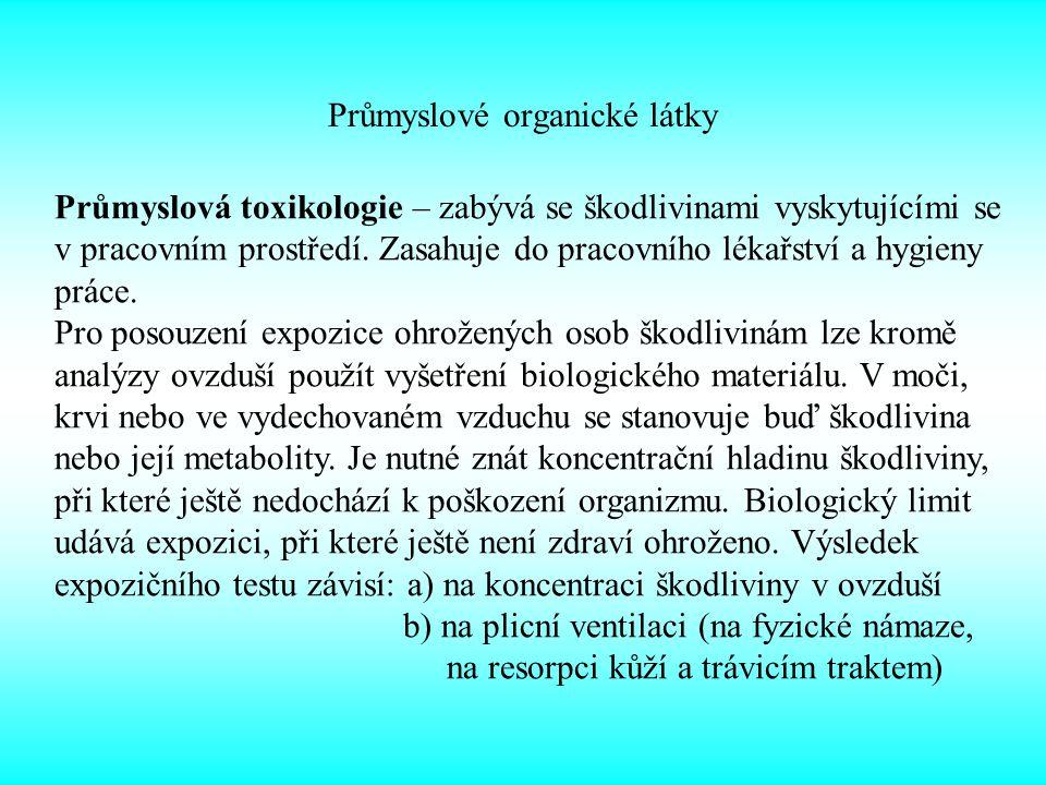 Průmyslové organické látky Toxicita závisí na schopnosti inhibice acetylcholinesterázy.