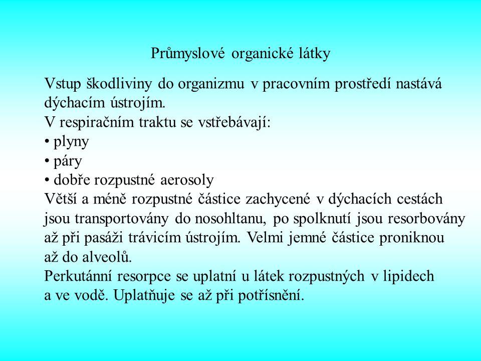 Průmyslové organické látky Klinický obraz: neurotoxické stádium – přechodná opilost, zvracení, ospalost, během 4 – 12 hod.