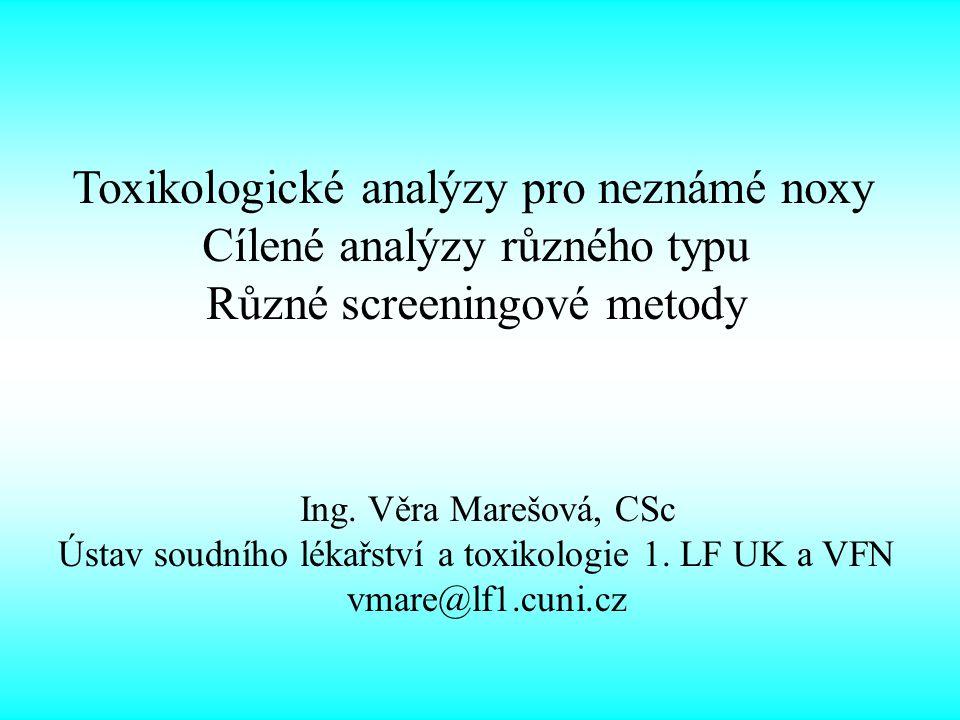 Toxikologické analýzy pro neznámé noxy Cílené analýzy různého typu Různé screeningové metody Ing.