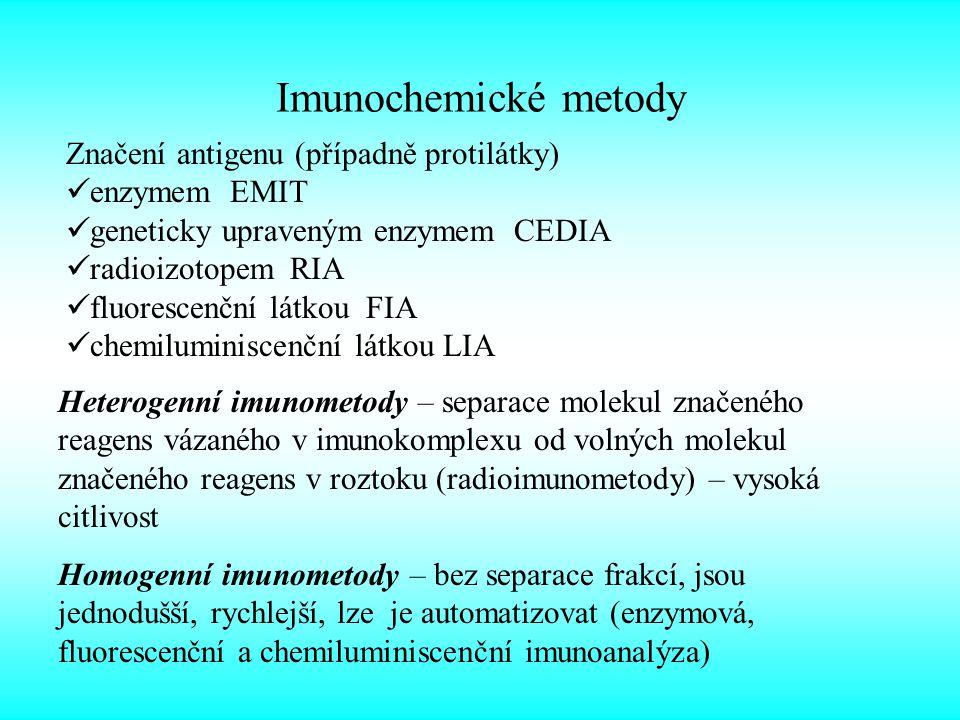 Imunochemické metody Značení antigenu (případně protilátky) enzymem EMIT geneticky upraveným enzymem CEDIA radioizotopem RIA fluorescenční látkou FIA chemiluminiscenční látkou LIA Heterogenní imunometody – separace molekul značeného reagens vázaného v imunokomplexu od volných molekul značeného reagens v roztoku (radioimunometody) – vysoká citlivost Homogenní imunometody – bez separace frakcí, jsou jednodušší, rychlejší, lze je automatizovat (enzymová, fluorescenční a chemiluminiscenční imunoanalýza)
