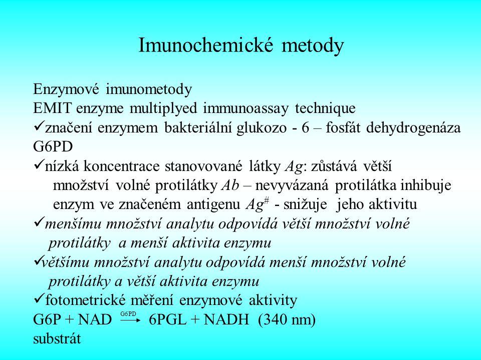 Imunochemické metody Antigeny Ag– makromolekuly (polymery: proteiny, polypeptidy…) navozují specifickou imunitní opovědˇ specificky reagují s protilátkami hapten – nízkomolekulární látka (léčiva, drogy) navázána na vysokomolekulární nosič Protilátky Ab – bílkoviny (glykoproteiny) tělních tekutin vykazují specifickou vazebnou schopnost vůči antigenu, na jehož podnět se vytvořily Typy protilátek Ab: cíleně připraveny proti determinantní skupině, která je specifická jen pro jedno chemické individuum např.