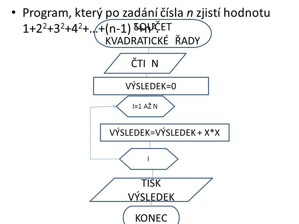 KONEC TISK VÝSLEDEK II=1 AŽ N ČTI N SOUČET KVADRATICKÉ ŘADY VÝSLEDEK=0 Program, který po zadání čísla n zjistí hodnotu 1+2 2 +3 2 +4 2 +…+(n-1) 2 +n 2.