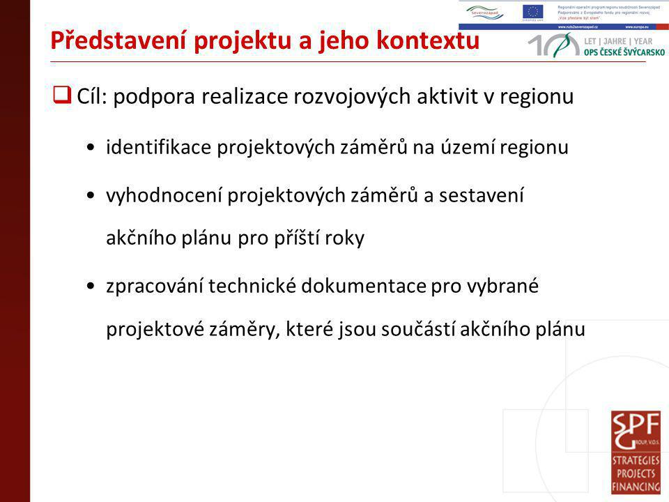 Představení projektu a jeho kontextu  Cíl: podpora realizace rozvojových aktivit v regionu identifikace projektových záměrů na území regionu vyhodnocení projektových záměrů a sestavení akčního plánu pro příští roky zpracování technické dokumentace pro vybrané projektové záměry, které jsou součástí akčního plánu