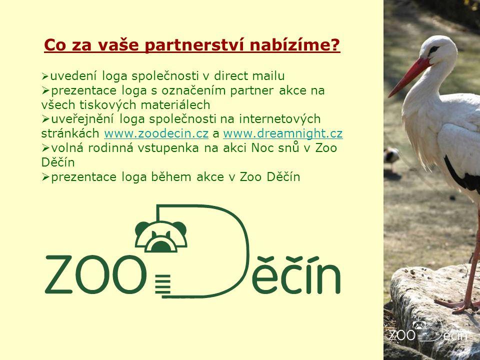 Co za vaše partnerství nabízíme?  uvedení loga společnosti v direct mailu  prezentace loga s označením partner akce na všech tiskových materiálech 
