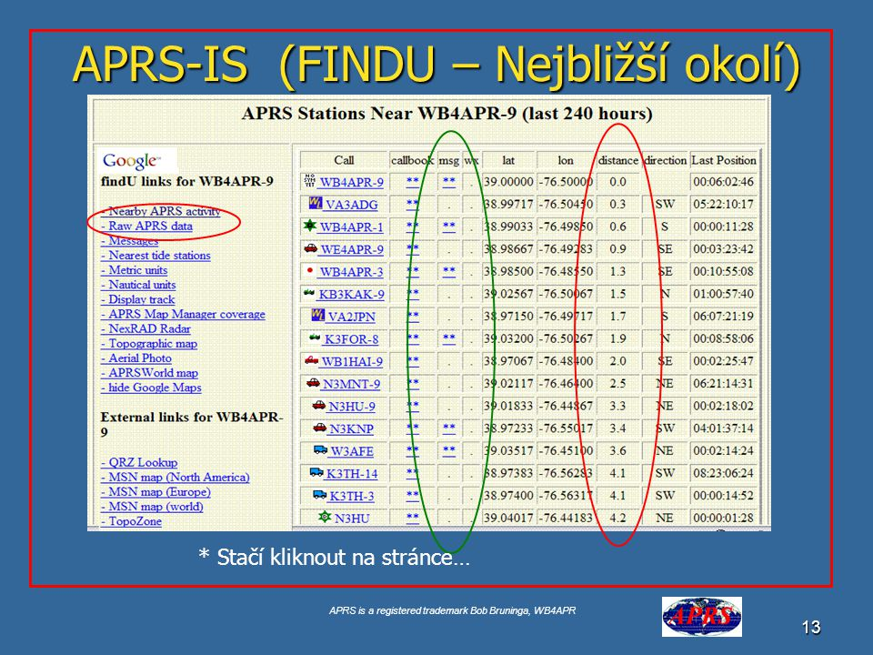 "APRS is a registered trademark Bob Bruninga, WB4APR 13 APRS-IS (FINDU – Nejbližší okolí) Google for ""USNA Buoy"" Select USNA-1 * Stačí kliknout na strá"