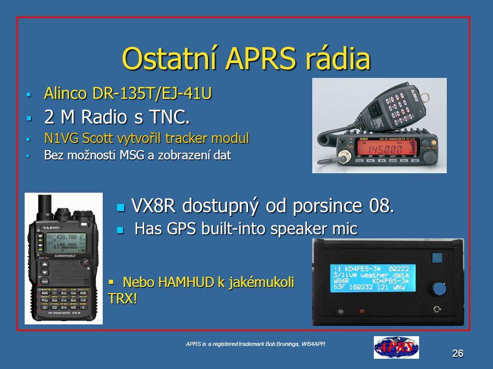 APRS is a registered trademark Bob Bruninga, WB4APR 27 INFO Display radios.