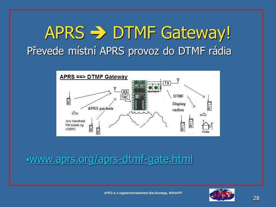 APRS is a registered trademark Bob Bruninga, WB4APR 28 APRS  DTMF Gateway.