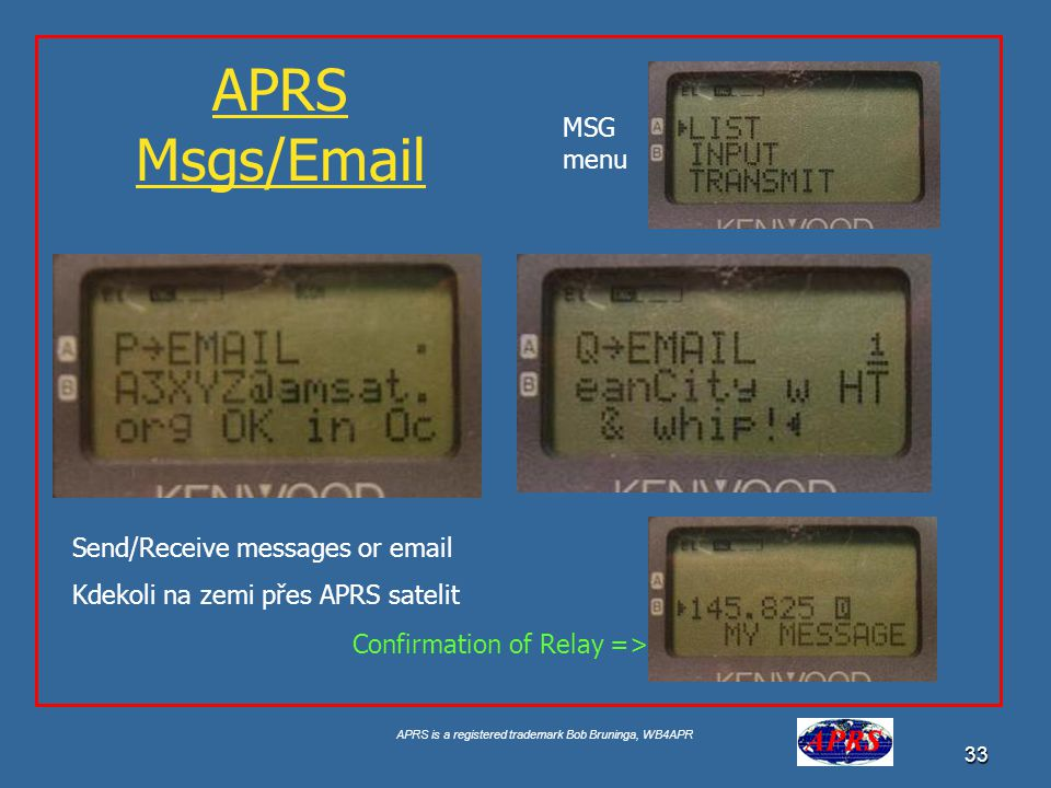 APRS is a registered trademark Bob Bruninga, WB4APR 33 APRS Msgs/Email Send/Receive messages or email Kdekoli na zemi přes APRS satelit MSG menu Confirmation of Relay =>