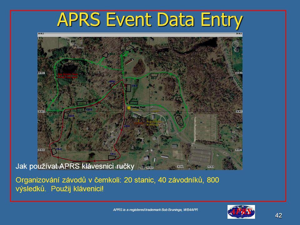 APRS is a registered trademark Bob Bruninga, WB4APR 43 APRS Event Data Entry APRS mapa s pozicemi Ale tohle je jen polovina!