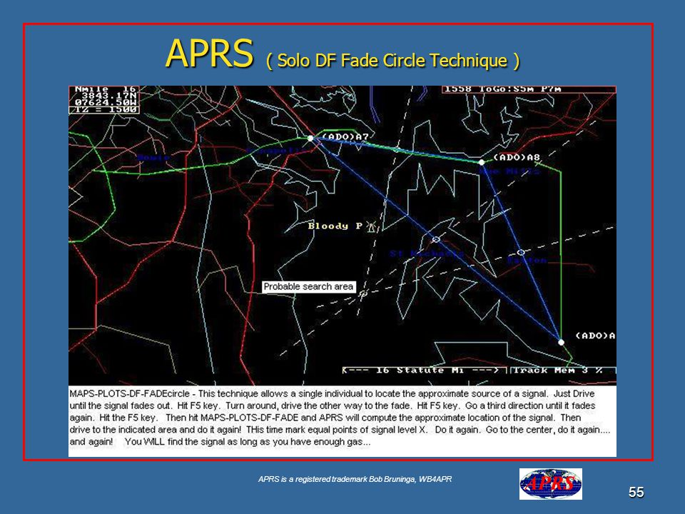 APRS is a registered trademark Bob Bruninga, WB4APR 55 APRS ( Solo DF Fade Circle Technique )