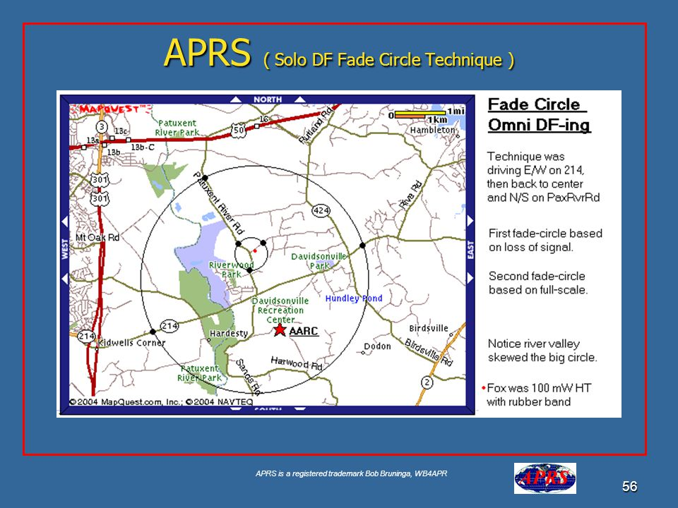 APRS is a registered trademark Bob Bruninga, WB4APR 56 APRS ( Solo DF Fade Circle Technique )