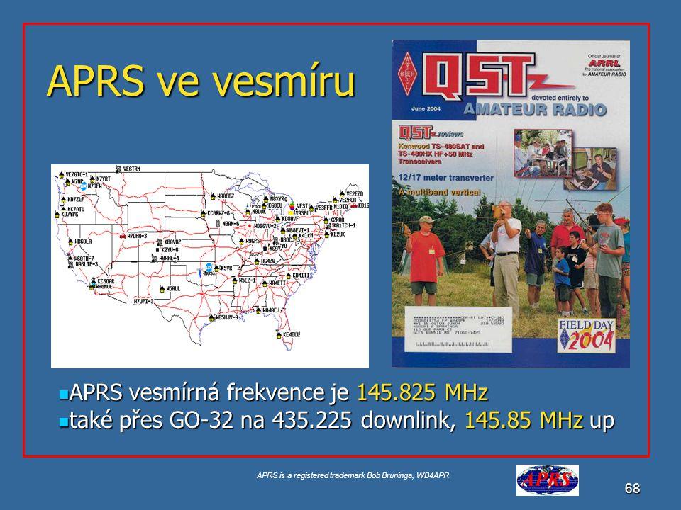 APRS is a registered trademark Bob Bruninga, WB4APR 69 APRS ve vesmíru 2001 PCSAT-1 Prototyp 2001 PCSAT-1 Prototyp 2006 PCSAT2 on ISS 2006 PCSAT2 on ISS 2007 ANDE 2007 ANDE 2008 RAFT 2008 RAFT APRS space frequency je 145.825 APRS space frequency je 145.825 http://pcsat.aprs.org