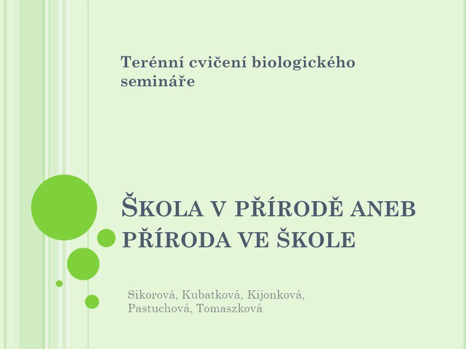 Š KOLA V PŘÍRODĚ ANEB PŘÍRODA VE ŠKOLE Terénní cvičení biologického semináře Sikorová, Kubatková, Kijonková, Pastuchová, Tomaszková